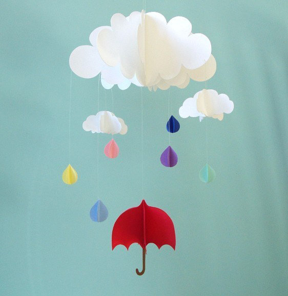 Red Umbrella and Raindrops Paper Mobile ($48)