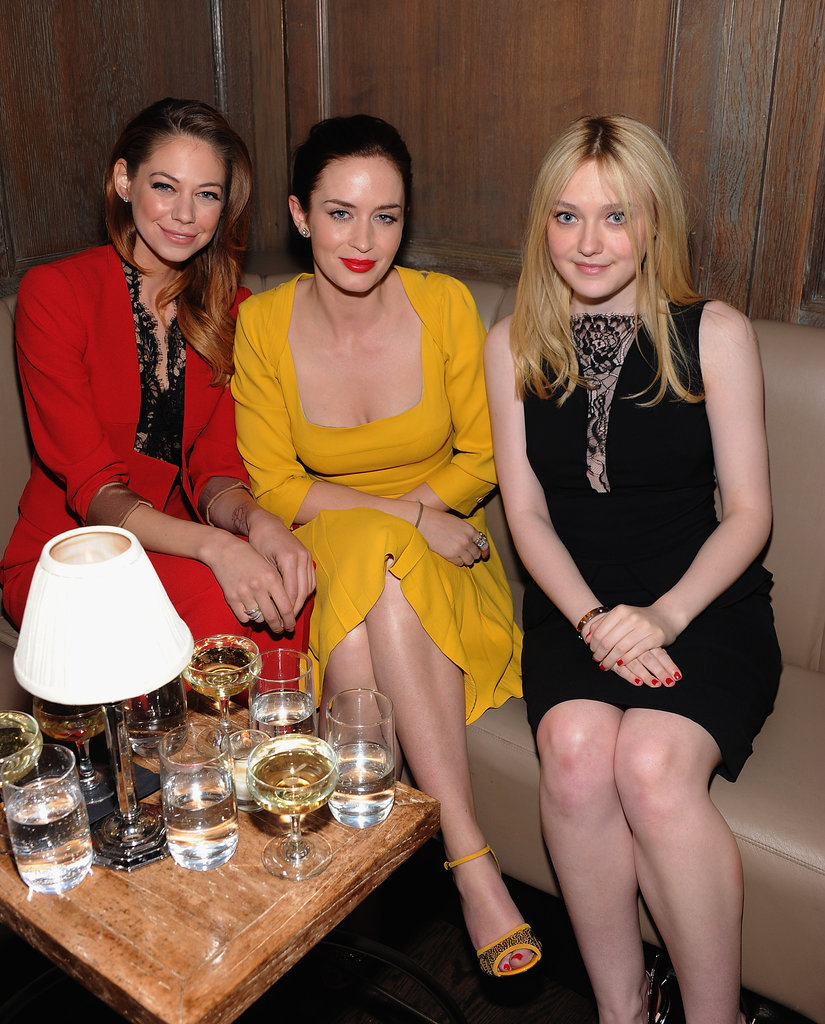 Analeigh Tipton, Emily Blunt, and Dakota Fanning sat together at the Elie Saab private dinner in NYC.