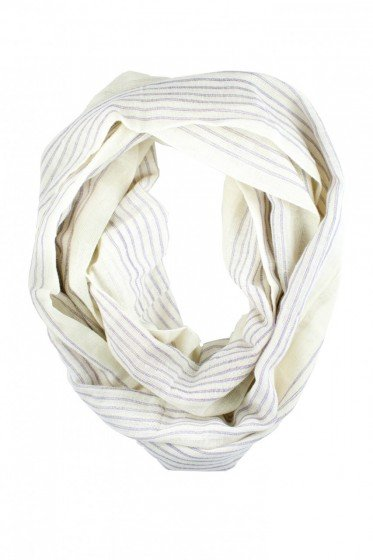 Made from locally sourced cotton and hand-loomed by Ethiopian women who were former fuel laborers, this scarf is more than just a pretty layering piece. Its proceeds benefit the Connected in Hope Foundation, which provides more economic and educational opportunities for these women and their families. Mulu: Lilac and White Striped Infinity Scarf ($57)
