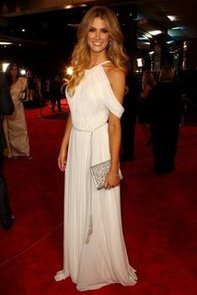 Pictures of Delta Goodrem on the 2012 Logies Red Carpet in White Grecian Ralph Lauren Gown: Rate It or Hate It?