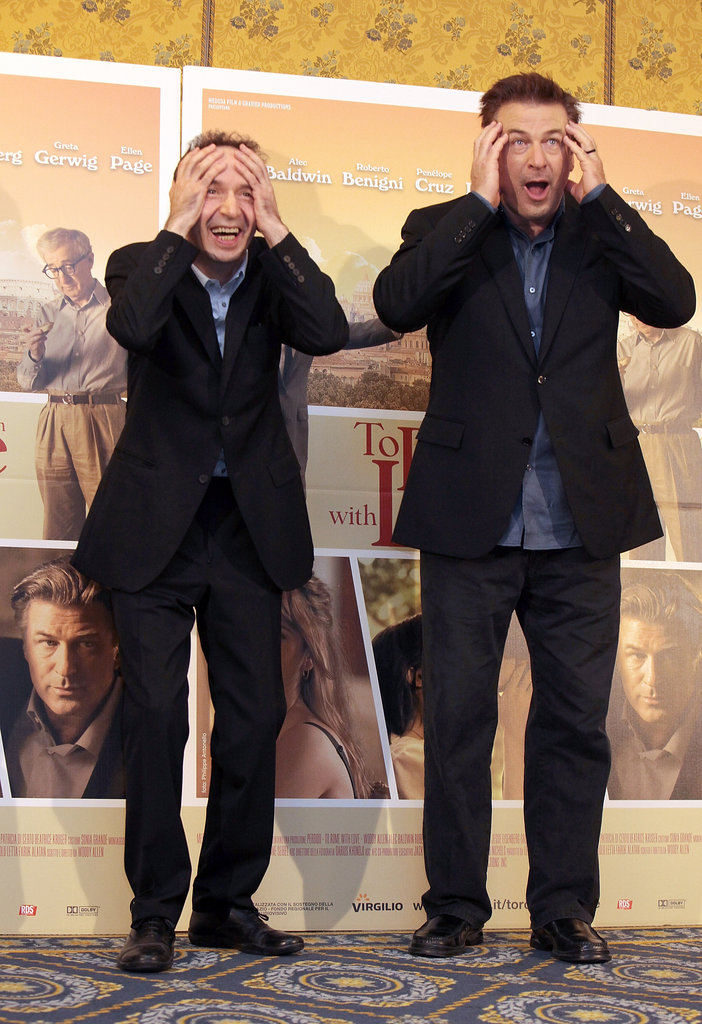 Alec Baldwin and Roberto Begnini goofed off at a press conference for To Rome With Love.