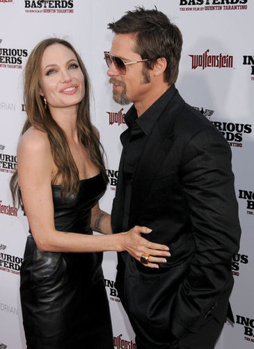 Angelina Jolie wore a leather dress to Brad Pitt's August 2009 LA premiere of Inglourious Basterds.