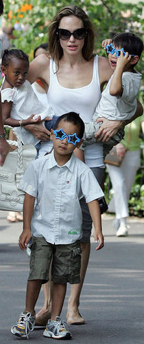 Angelina Jolie took Pax, Maddox, and Zahara for a walk in NYC's Central Park in August 2007.