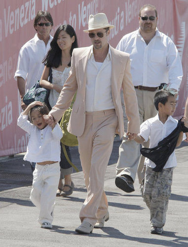 Brad Pitt held Pax and Maddox by the hands during an August 2008 trip to Venice.