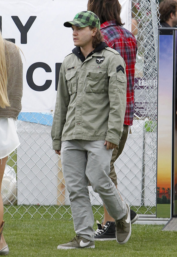 Emile Hirsch bundled up for the cool Indio weather on Friday.