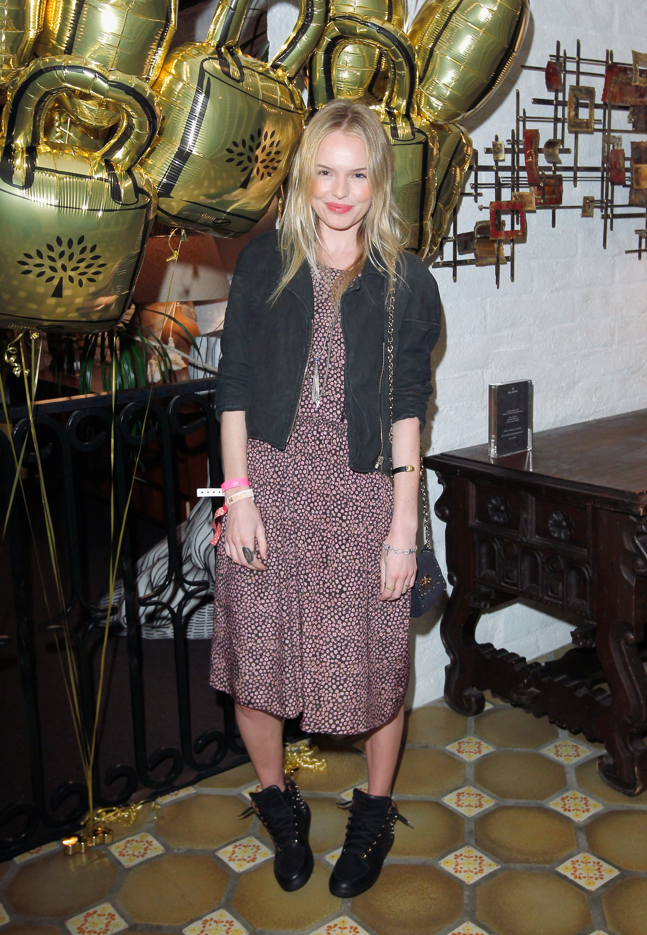 Kate Bosworth changed into a long dress to attend Mulberry's Coachella party at the Parker Palm Springs Friday.