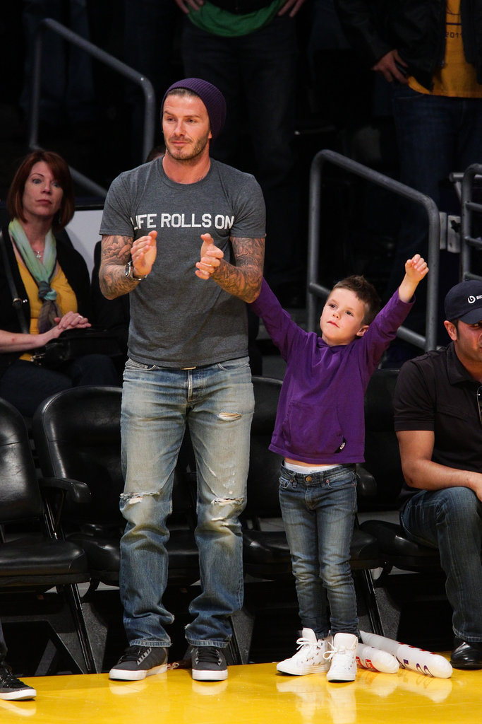 David Beckham and Cruz Beckham were some of the Lakers' biggest fans at the game in LA.