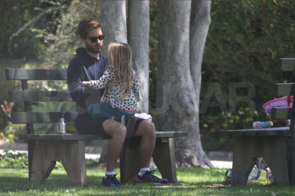 Tobey Maguire and Ruby Maguire chatted in the park.