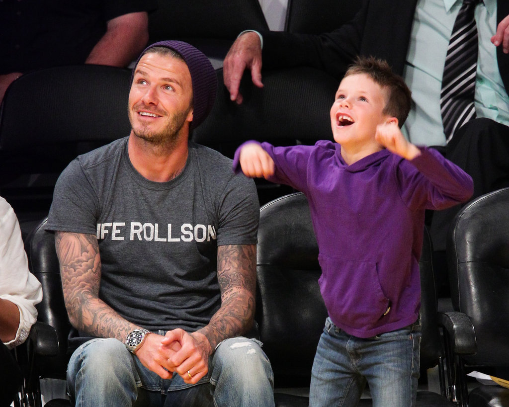 David Beckham cheered alongside son Cruz Beckham at the Lakers game in LA.