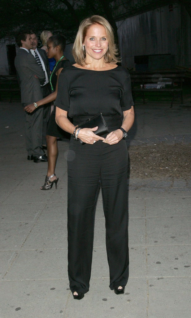 Katie Couric showed off her black Tucker jumpsuit at the Vanity Fair bash to kick off the 2012 Tribeca Film Festival.