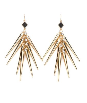 A mix between punk rock and ethnic glam, these spiky earrings are finished off with rhinestone accents and faux-leather triangles.  Charlotte Russe Spike Dangle Earrings ($6)