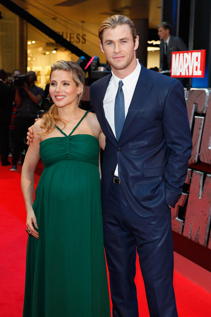 Dad-to-be Chris Hemsworth with wife Elsa Pataky at the premiere of The Avengers in London.