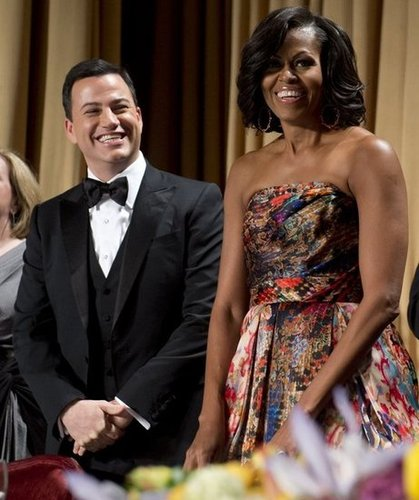 Michelle Obama and Jimmy Kimmel were all smiles at the White House Correspondant's Dinner.