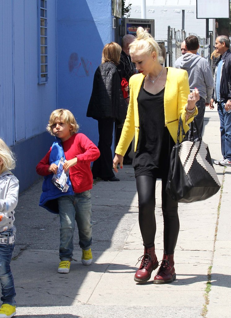 Gwen Stefani wore a yellow blazer from Zara while accompanying her sons to an ice-skating rink in LA.