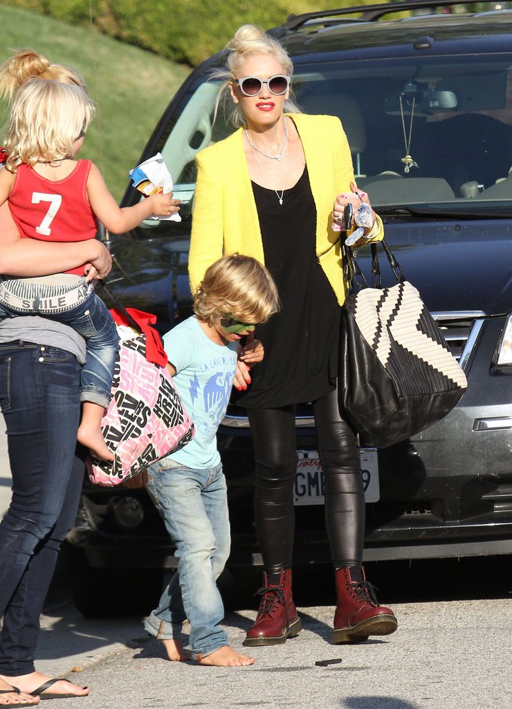 Kingston Rossdale sported some face paint after leaving a birthday party in LA with mom Gwen Stefani and brother Zuma Rossadale.
