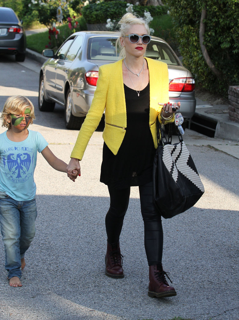 Kingston Rossdale had his face painted after at a birthday party in LA with mom Gwen Stefani.