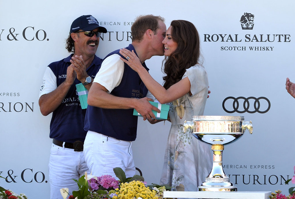 Kate presented William with a prize and a kiss after he played a polo match in Santa Barbara in July 2011.