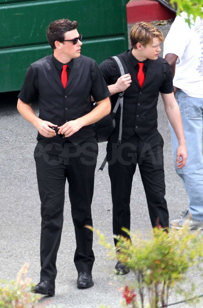 Cory Monteith and Chord Overstreet both looked dapper on the set of Glee.