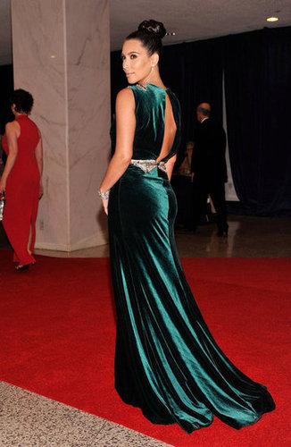 Kim Kardashian wore a long green dress to the White House Correspondant's Dinner.
