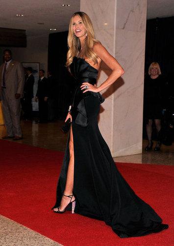 Elle Mcpherson showed some leg at the White House Correspondant's Dinner.