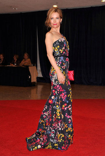 Leslie Mann posed in a long floral gown.