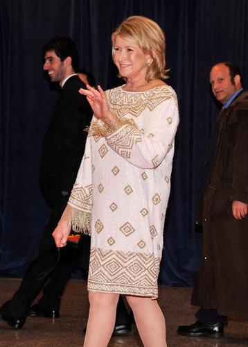 Martha Stewart waved to friends at the White House Correspondant's Dinner.