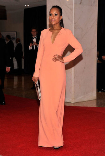 Kerry Washington posed in her long coral dress.
