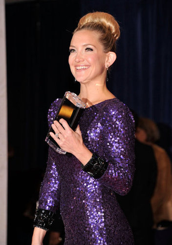 Kate Hudson looked stunning in a purple sequin dress and bun.