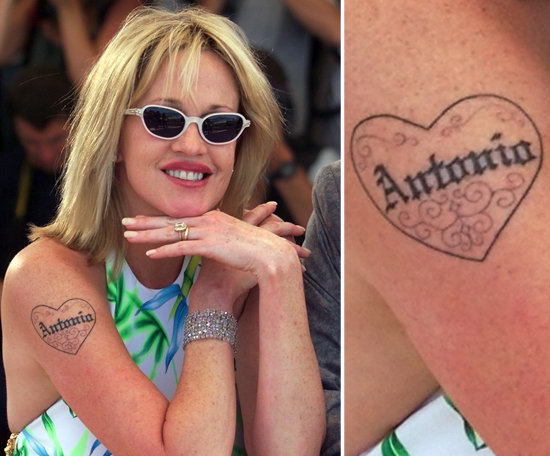 Melanie Griffith made her love for husband Antonio Banderas permanent in 2000 with a tattoo of his name on her arm.