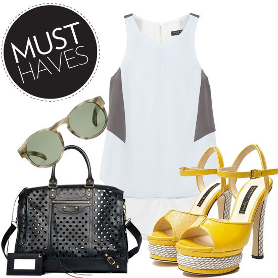 Fab's feeling colorful statement sandals, breezy blouses, and perforated accessories.