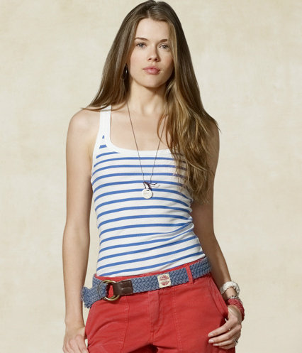 Thin nautical stripes give this basic jersey tank a sporty style.  Rugby Rycroft Striped Ribbed Tank ($23)