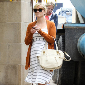 Reese Witherspoon Striped Dress Orange Cardigan