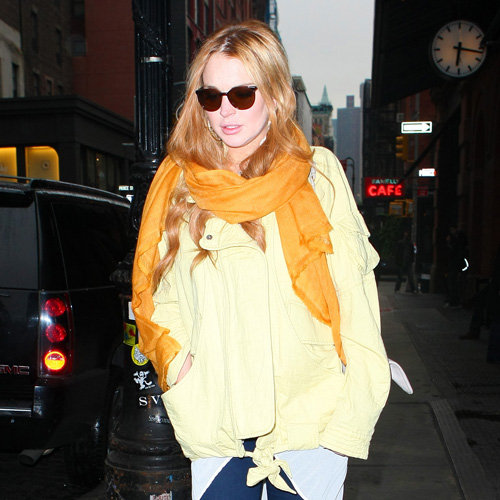 Lindsay Lohan Yellow Jacket Orange Scarf