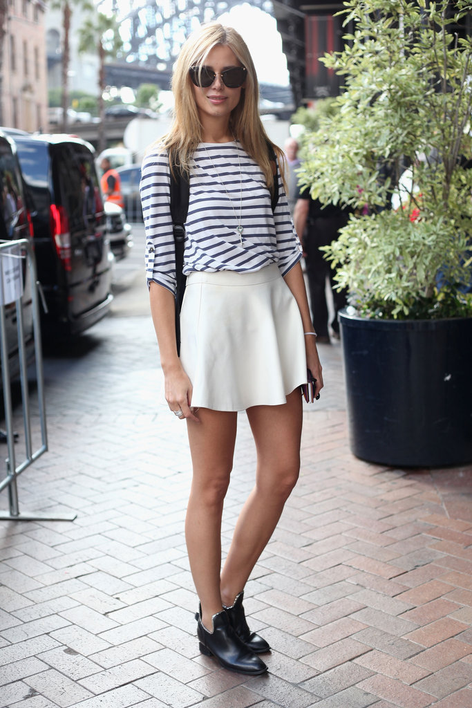 We think her nautical striped tee tucked into a pretty white circle skirt is a wardrobe must.