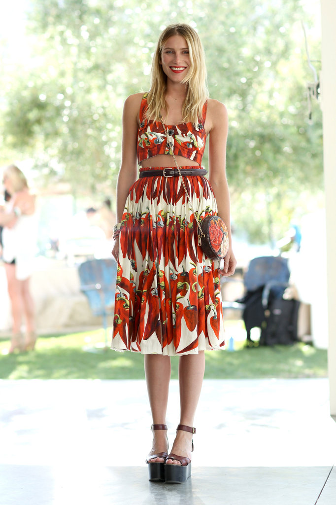 Dree Hemingway made the look festival-appropriate at Coachella by exposing a little midriff in her Dolce & Gabbana ensemble.