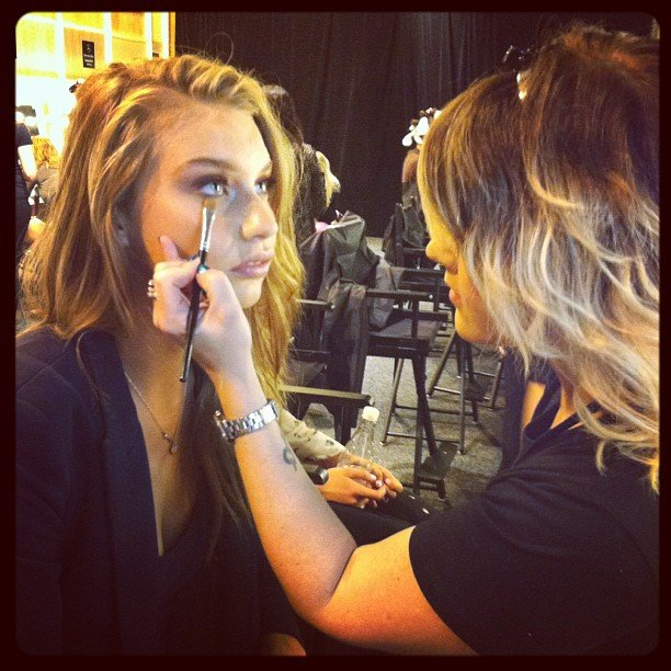 Models getting prepped for the Talulah show.