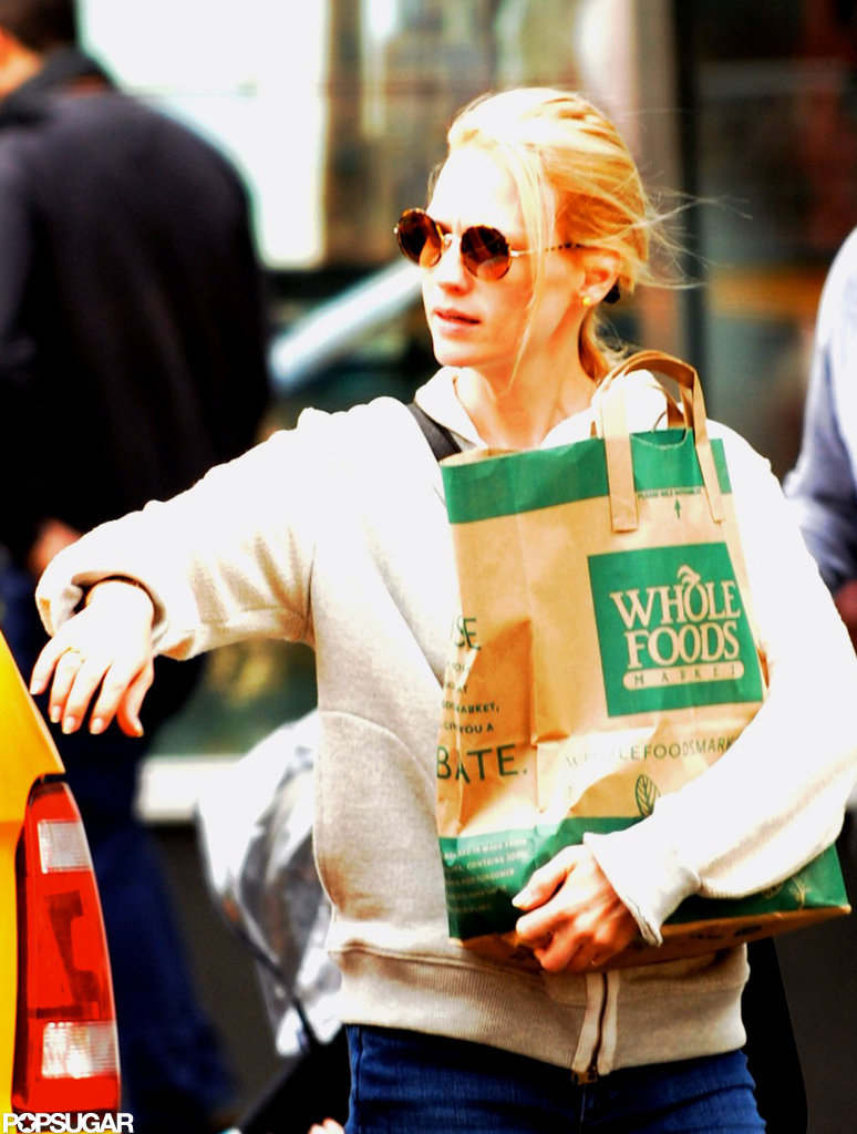 January Jones made a stop at Whole Foods in NYC.