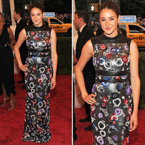 Pictures of Shailene Woodley in Christopher Kane Floral Dress on the Red Carpet at the 2012 Met Costume Institue Gala