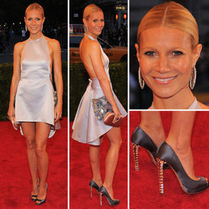 Pictures of Gwyneth Paltrow in Grey Halter Prada Dress on the Red Carpet at the 2012 Met Costume Institue Gala