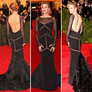 Pictures of Renee Zellweger in Backless Black Emilio Pucci on the Red Carpet at the 2012 Met Costume Institue Gala