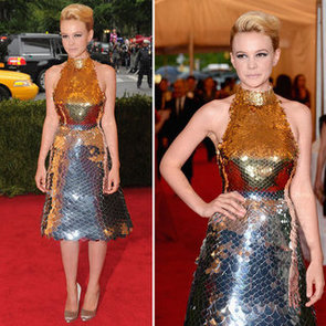 Pictures of Carey Mulligan in Gold Prada Dress on the Red Carpet at the 2012 Met Costume Institue Gala