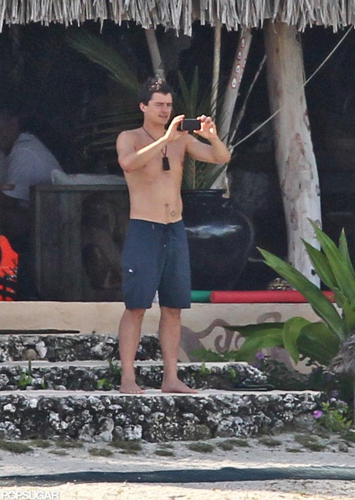 Orlando Bloom got his camera out in Bora Bora.