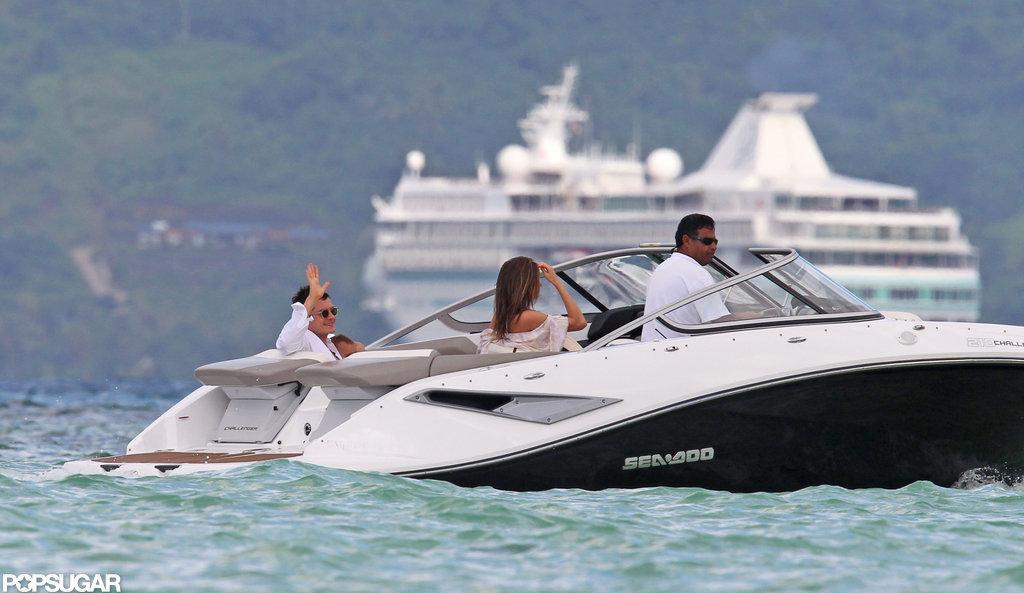 Miranda Kerr, Orlando Bloom and baby Flynn took a boat ride in Bora Bora.