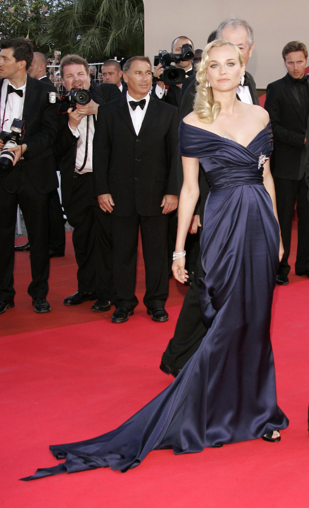 This sophisticated navy blue gown was made especially for Diane by her good friend Karl Lagerfeld — needless to say, she stunned at the 2007 Palme d'Or Awards closing ceremony.