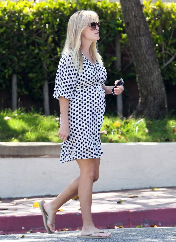 Reese Witherspoon sported a polka-dot dress while picking her kids up from school.