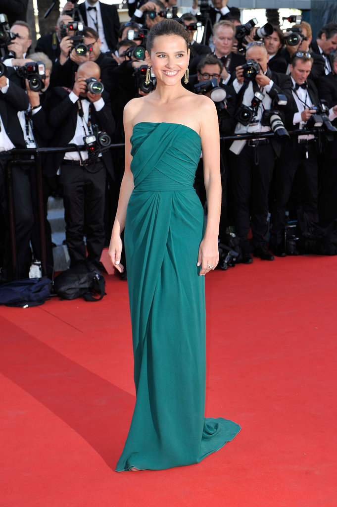 French actress Virginie Ledoyen looked beautiful in a strapless emerald column dress.