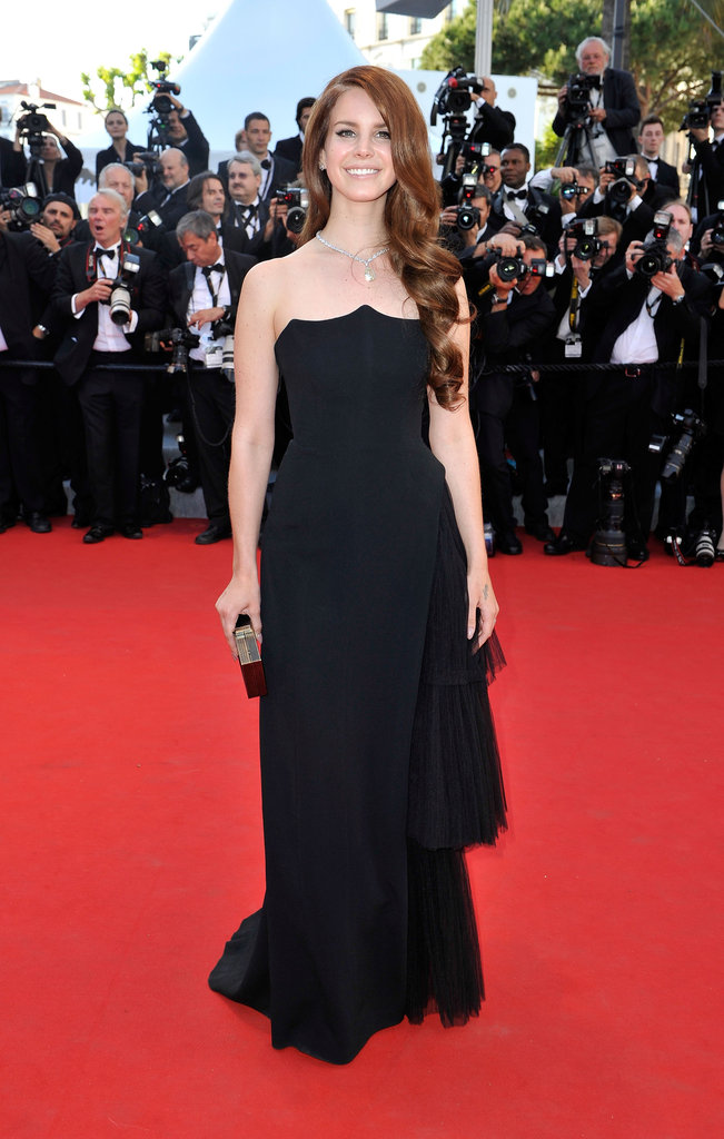Lana Del Rey glammed it up in a black floor-length Alberta Ferretti Fall '12 gown.