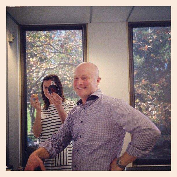 Bella ed Sarah was testing out the new Jean Paul Gaultier fragrance Kokorico around sales director Ben. He looks pretty happy with it.
