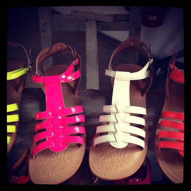 Coloured gladiator sandals courtesy of Betts — they'll be in stores later this year.