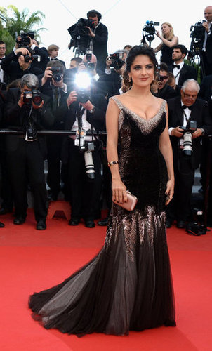 Salma Hayek shined in a black-and-silver metallic Gucci Premiere gown at the premiere of Madagascar 3.